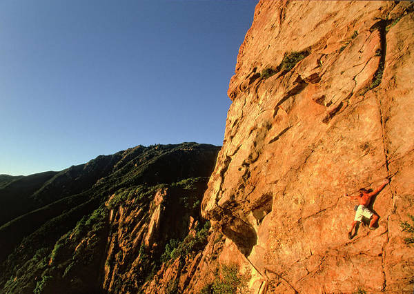 Climber Solos At Sunset Poster