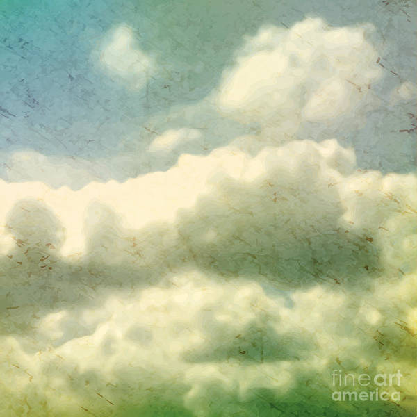 Clouds. Grungy Vector Illustration Poster