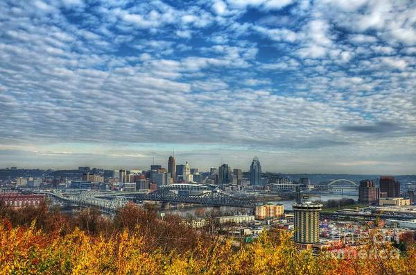 Poster featuring the photograph Clouds Over Cincinnati by Mel Steinhauer