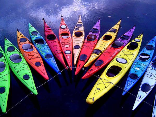 Clustered Kayaks Poster