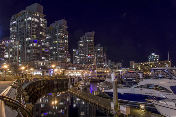 Poster featuring the photograph Coal Harbour By Night by Ross G Strachan