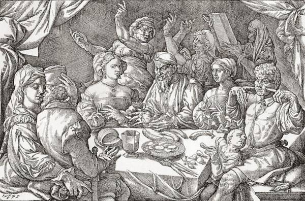 Coarse Behaviour At The Dining Table During The Renaissance Period.  After A Spanish Copper Poster
