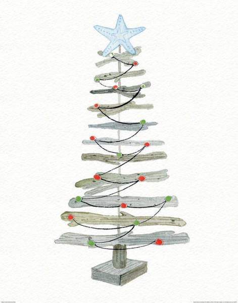 Coastal Holiday Tree IIi Red Poster