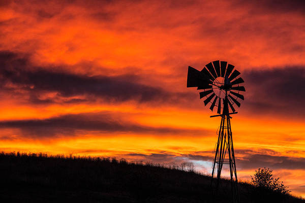 Cobblestone Windmill At Sunset Poster
