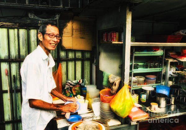 Coffee Vendor On South East Asian Street Stall Poster