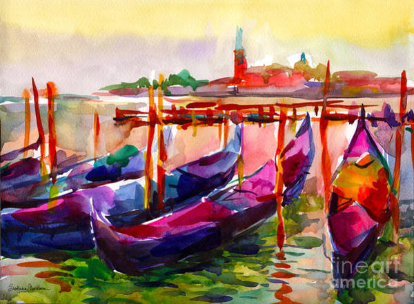 Coloful Venice Boats Painting Poster