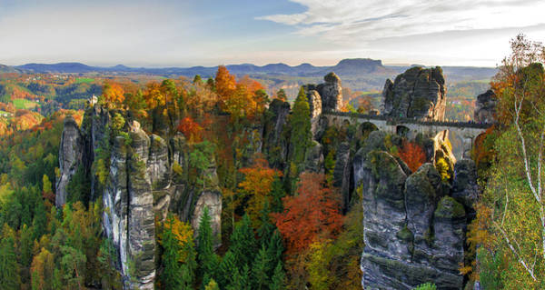 Colorful Bastei Bridge In The Saxon Switzerland Poster