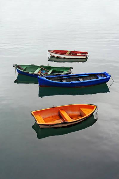 colorful boats on Santurtzi Poster