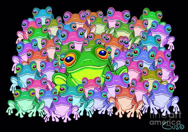 Colorful Froggy Family Poster