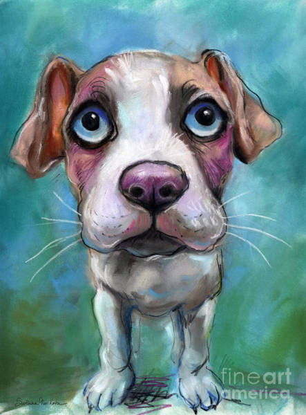 Colorful Pit Bull Puppy With Blue Eyes Painting  Poster