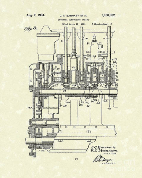 Combustion Engine 1934 Patent Art Poster