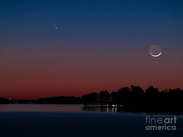 Comet Panstarrs And Crescent Moon Poster