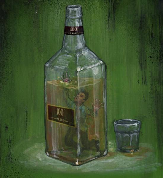 Conceptual Illustration Of Man Drowning In Alcohol Bottle Poster