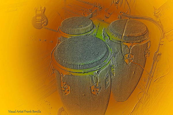 Poster featuring the digital art Congas by Visual Artist Frank Bonilla