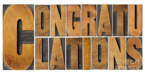 Congratulations In Wood Type Poster