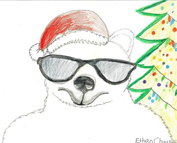 Poster featuring the drawing Cool Christmas Polar Bear  by Ethan Chaupiz