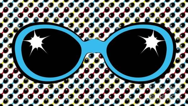Cool Retro Blue Sunglasses Poster
