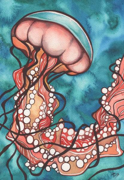 Coral Sea Nettle Jellyfish Poster