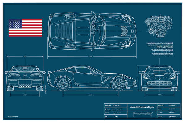 Corvette Stingray Blueplanprint Poster