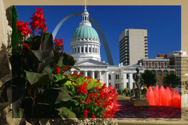 Courthouse Arch Skyline Fountain Poster