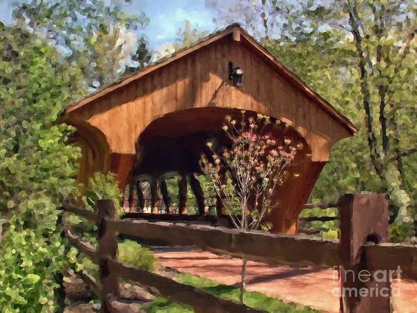 Covered Bridge At Olmsted Falls-spring Poster