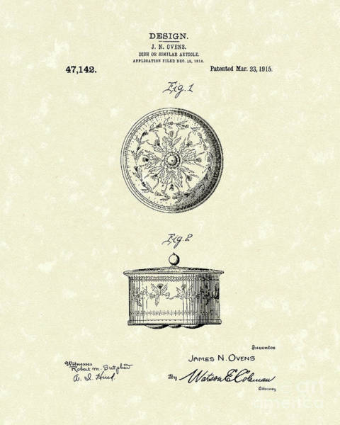 Covered Dish 1915 Patent Art Poster