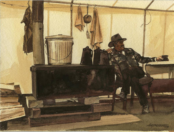 Cowboy In Tent By Stove Poster