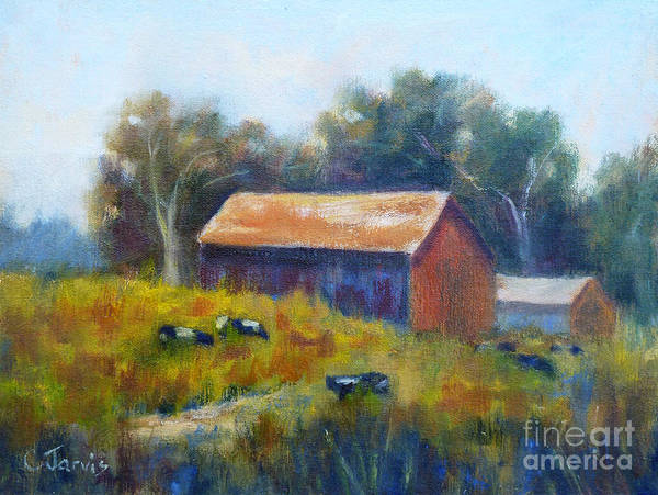 Cows By The Barn Poster