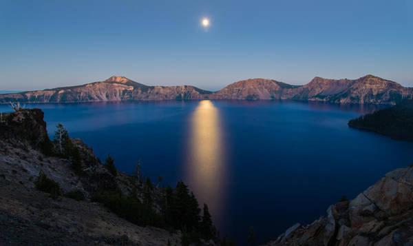 Crater Lake Moonrise Poster