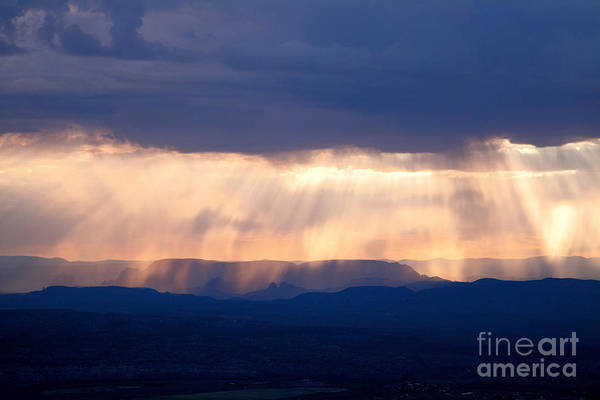 Crepuscular Light Rays Just After Sunrise On Sedona Arizona As Seen From Jerome Poster