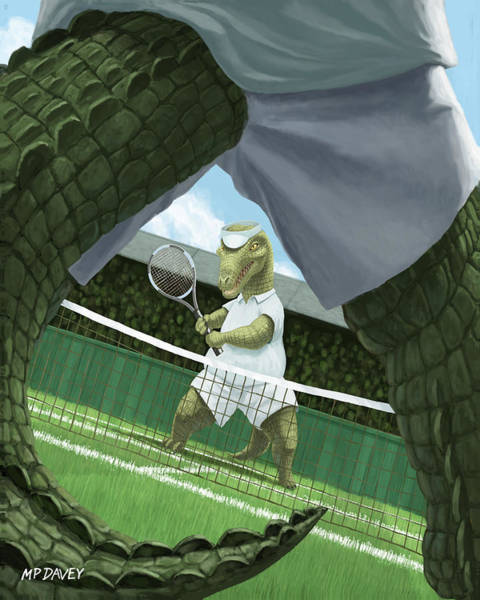 Crocodiles Playing Tennis At Wimbledon  Poster