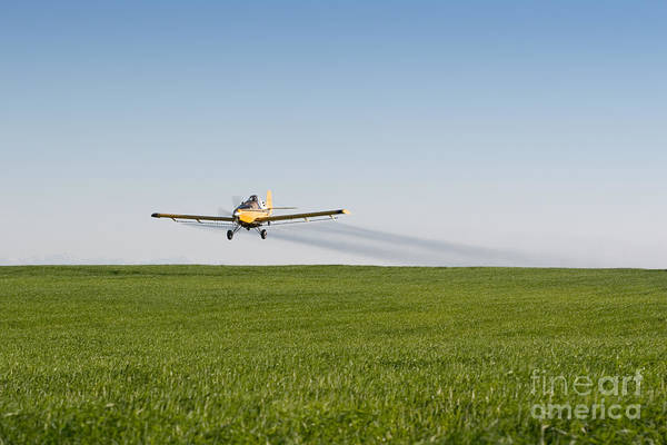 Crop Duster Airplane Flying Over Farmland Poster