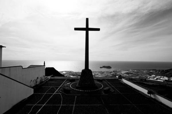 Cross Atop Old Chapel In Village  Poster
