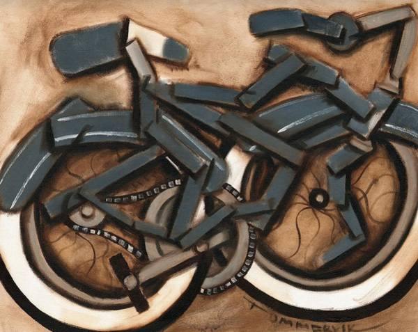 Abstract Blue Cruiser Bicycle Art Print Poster