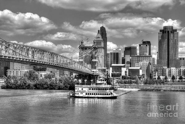 Poster featuring the photograph Cruising By Cincinnati 3 Bw by Mel Steinhauer