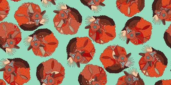 Curled Fox Polka Mint Poster