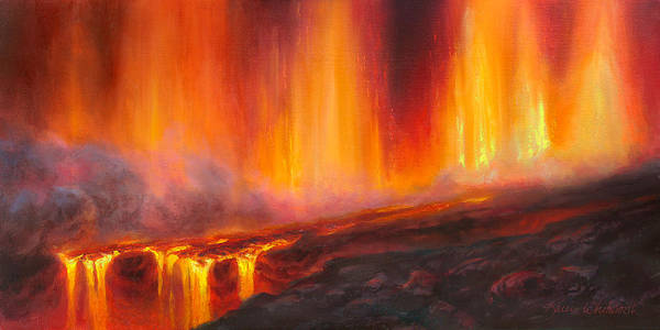 Erupting Kilauea Volcano On The Big Island Of Hawaii - Lava Curtain Poster