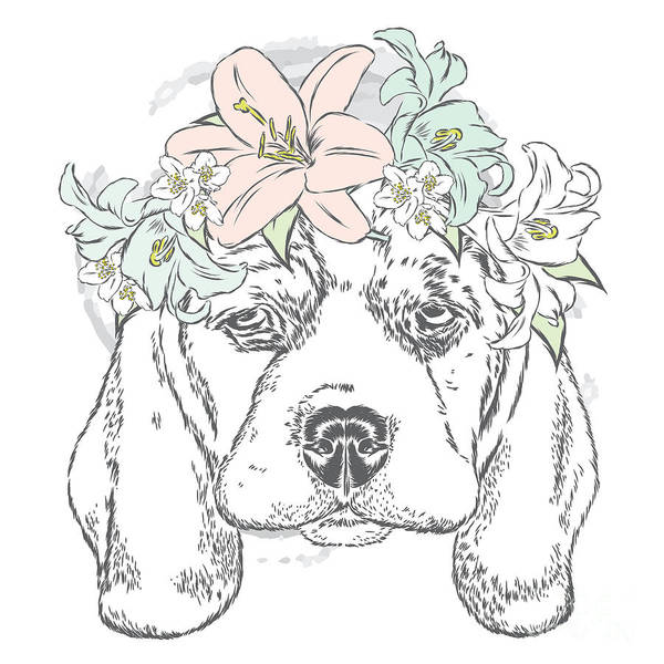 Cute Dog In A Wreath Of Roses . Vector Poster