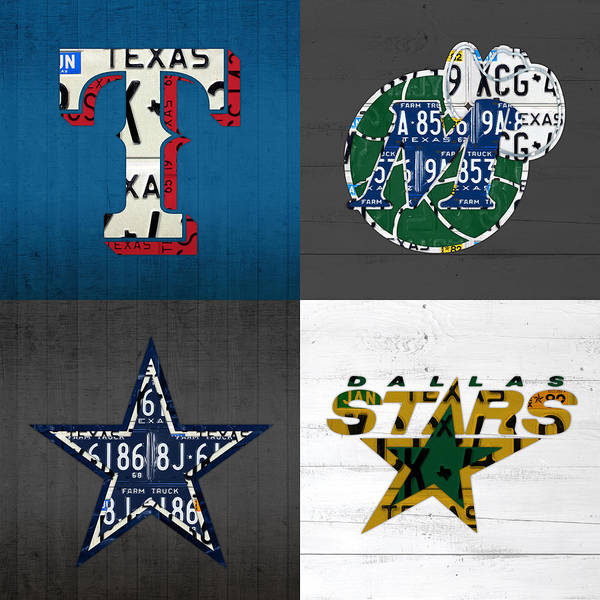 Dallas Sports Fan Recycled Vintage Texas License Plate Art Rangers Mavericks Cowboys Stars Poster