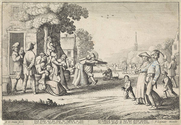 Dancing Farmers During A Village Festival Poster