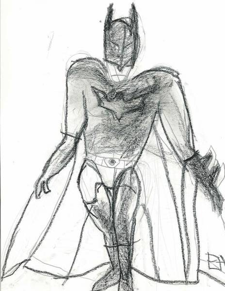 Poster featuring the drawing Dark Knight by Fred Hanna