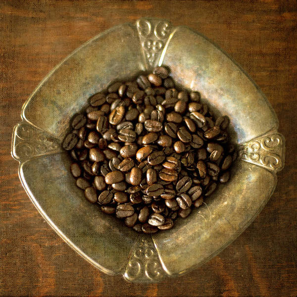 Dark Roast Coffee Beans And Antique Silver Poster