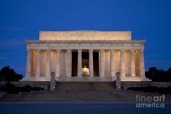 Poster featuring the photograph Dawn At Lincoln Memorial by Brian Jannsen