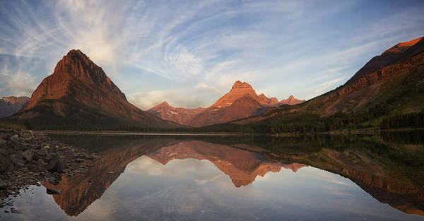 Dawn On Swiftcurrent Panorama Poster