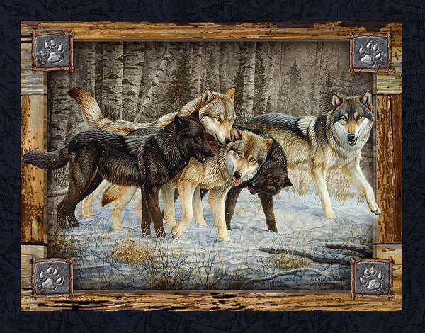 Deco Wolves Poster