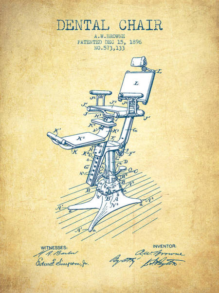 Dental Chair Patent Drawing From 1896 - Vintage Paper Poster
