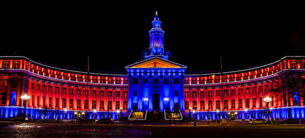 Denver City And Country Building In Bronco Blue And Orange Poster