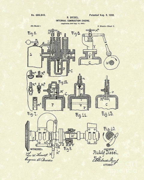 Diesel Engine 1898 Patent Art Poster