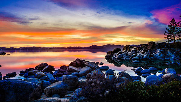 Diver's Cove Lake Tahoe Sunset Poster