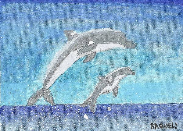 Poster featuring the painting Dolphins Jumping by Fred Hanna